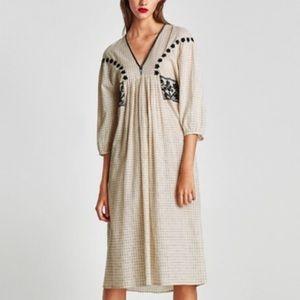 Zara 100% Cotton Midi Dress Embroidered Cream M